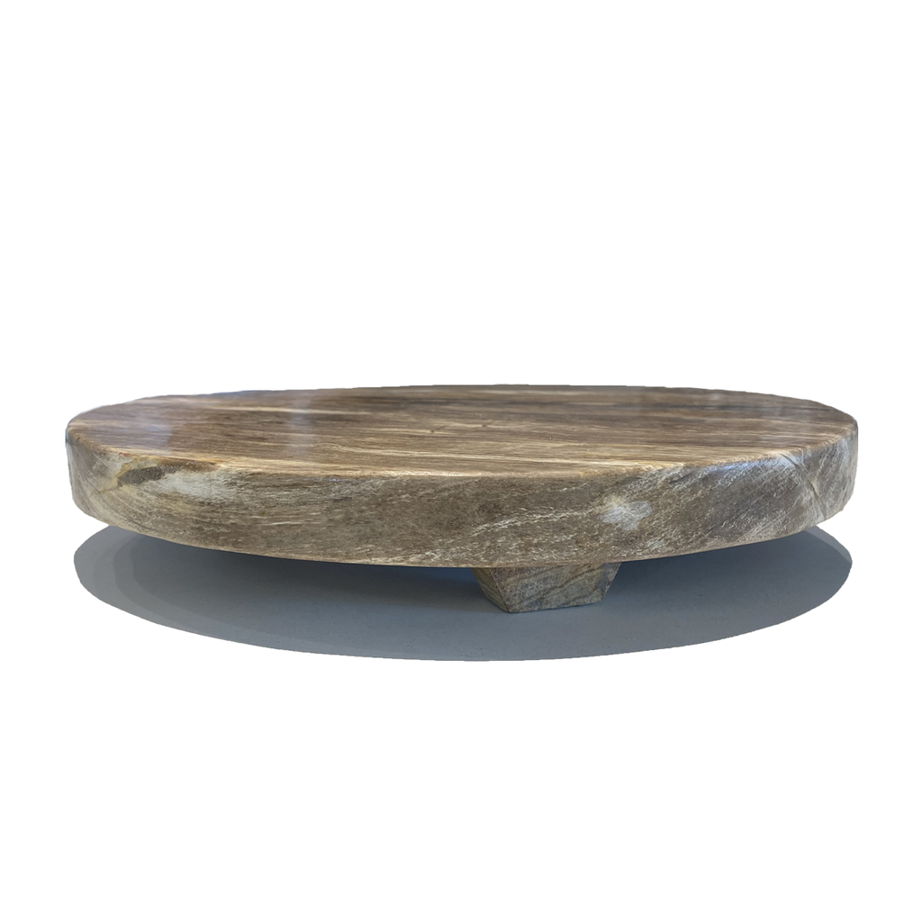 serving platter petrified wood Tibet with polished edge