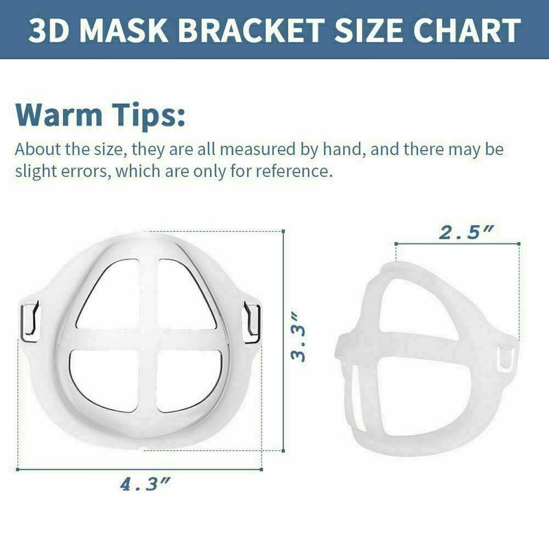 Reusable 3D Mask Bracket, Silicone Face Mask Inner Support Frame - 10 pack