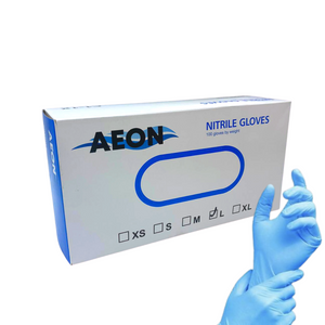 Nitrile Gloves - AEON - 100/box - 50 pairs - Blue