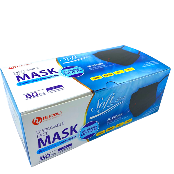 Level 3 Disposable 3-Ply  Protective Masks - BLACK