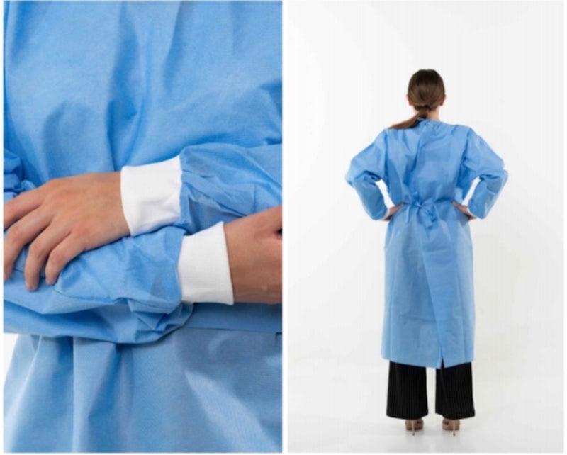 Disposable Isolation Gown with White Cuffs - SMS Material 40GSM - ANSI/AAMI PB70 AATCC42  and 127 Certified Level 2