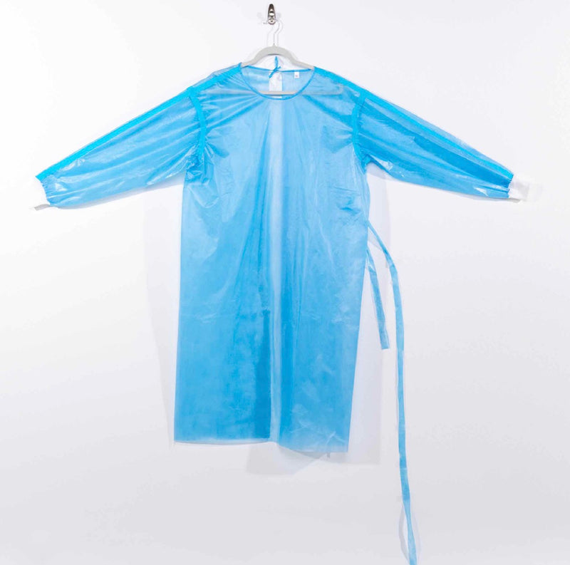 Disposable Isolation Gown PolyPropylene with PolyEthelyne coating (PP+PE) + White Cuffs, 45GSM Fluid Barrier - Level 3