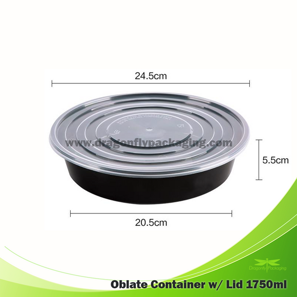 1750ml Black Round Microwavable Container with Lid 90pcs per Carton