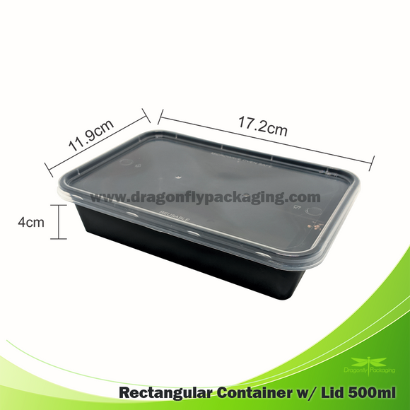 500ml Black Rectangle Microwavable Container with Flat Lid 500pcs per Carton