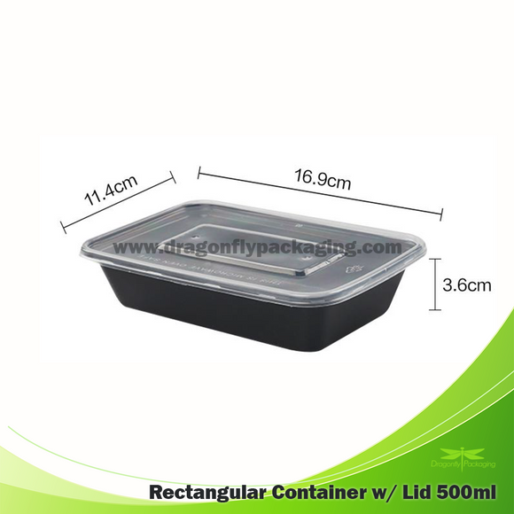 500ml Black Rectangle Microwaveable Container with Lid 300pcs per Carton