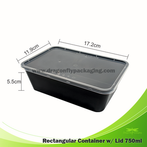 750ml Black Rectangle Microwavable Container with Flat Lid 500pcs per Carton