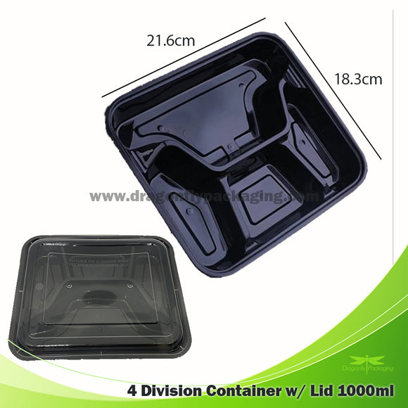 1000ml Black 4 Division Microwavable Bento Box with Lid 150pcs per Carton