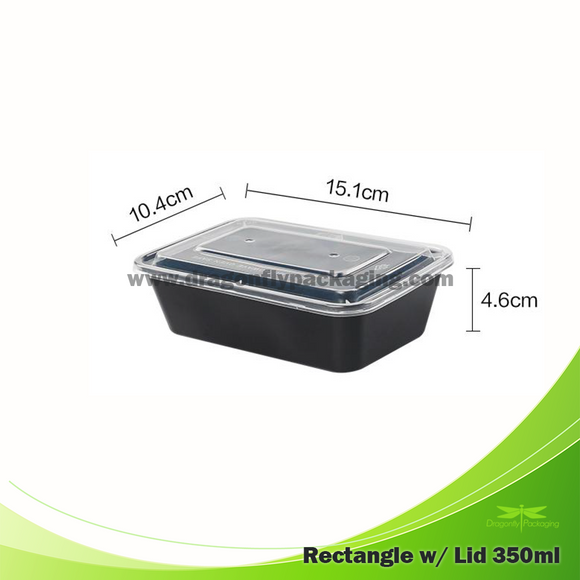 350ml Black Premium Rectangle Microwavable Container with Lid 300pcs per Carton