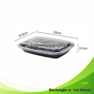 500ml Black Premium Rectangle Microwavable Container with Lid 150pcs per Carton