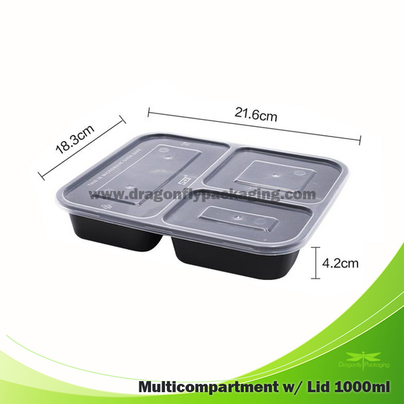 1000ml 3 compartment bento box with Lid 150pcs per Carton