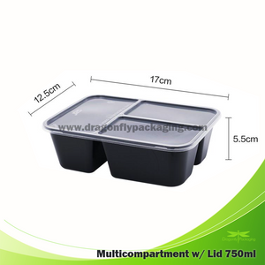 750ml 3 compartment Microwavable bento box with Lid 200pcs per Carton