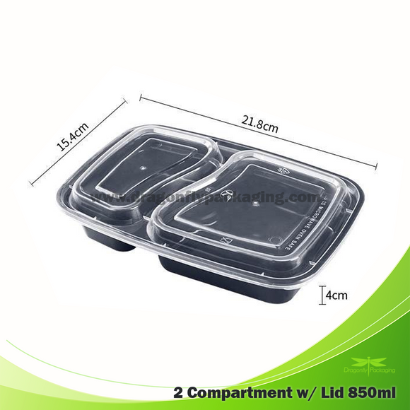 850ml Premium Microwavable 2 Compartment with Lid 150pcs per Carton
