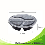 1000ml Round 3 compartment bento box with Lid 150pcs per Carton