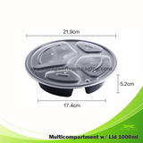 1000ml Round 4 compartment Microwavable with Lid 150pcs per Carton