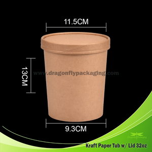 32oz Kraft Paper Tub with Kraft Lid 500pcs per Carton