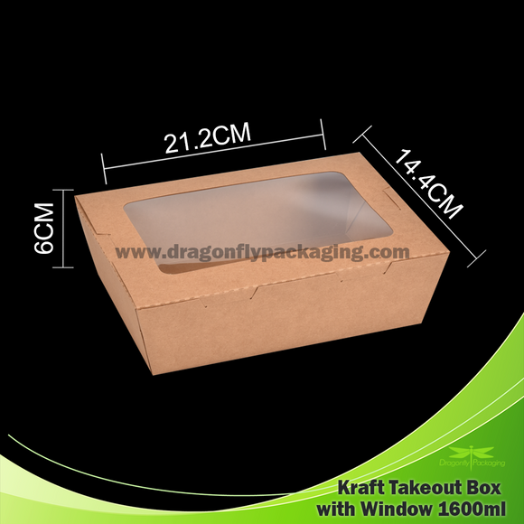 1600ml Kraft Paper Takeout Box with Window 200pcs per Carton