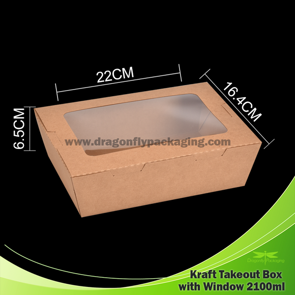 2100ml Kraft Paper Takeout Box with Window 200pcs per Carton