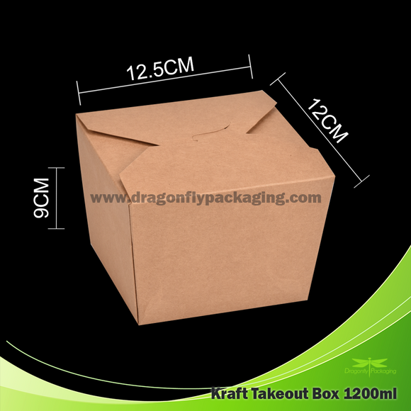 1200ml Kraft Paper Takeout Box 200pcs per Carton