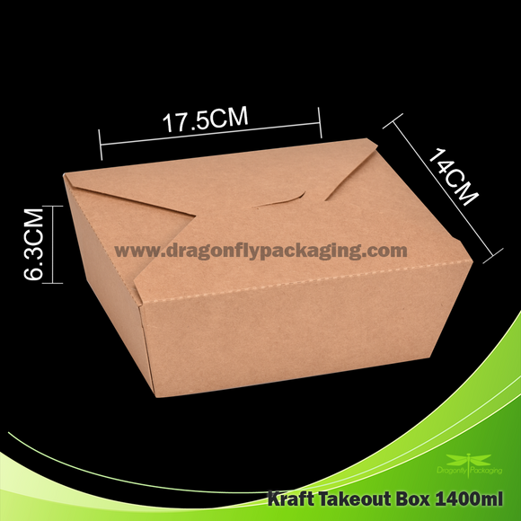 1400ml Kraft Paper Takeout Box 200pcs per Carton