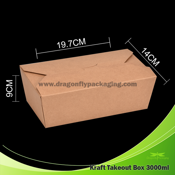 3000ml Kraft Paper Takeout Box 150pcs per Carton