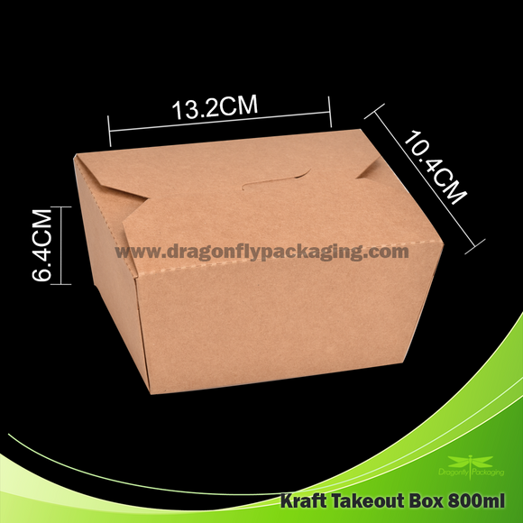 800ml Kraft Paper Takeout Box 200pcs per Carton