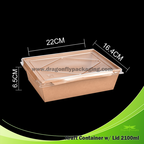 2100ml Kraft Paper Container with Lid 200pcs per Carton