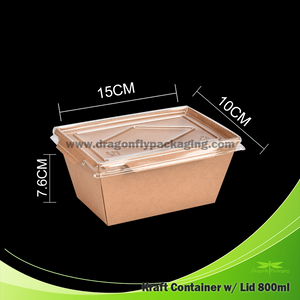 800ml Kraft Paper Container with Lid 200pcs per Carton