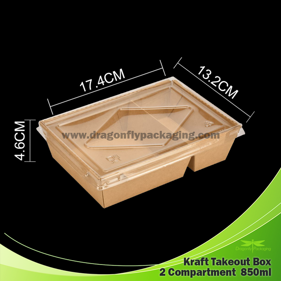 850ml Kraft Paper Container with Lid 2 Compartment 200pcs per Carton