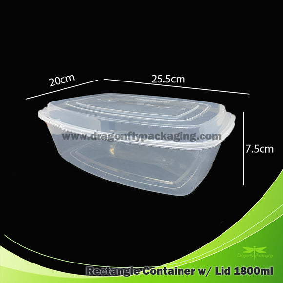 1800ml Clear Oval Microwavable Container with Lid 100pcs per Carton