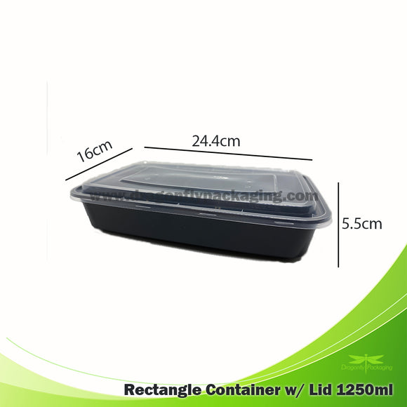 1250ml Black Premium Rectangle Microwavable Container with Lid 150pcs per Carton