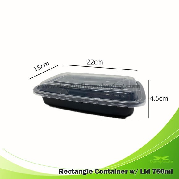 750ml Black Premium Rectangle Microwavable Container with Lid 150pcs per Carton
