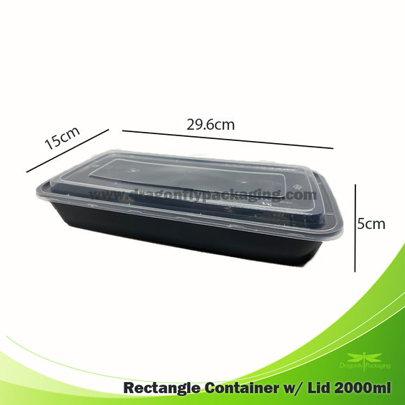 2000ml Premium Container with Lid 150pcs per Carton
