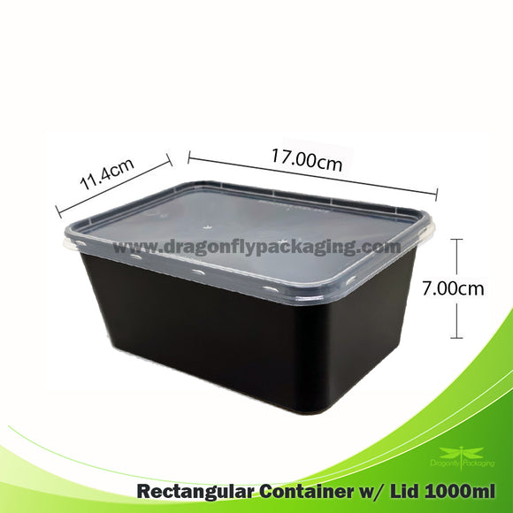 1000ml Black Rectangle Microwavable Container with Flat Lid 500pcs per carton