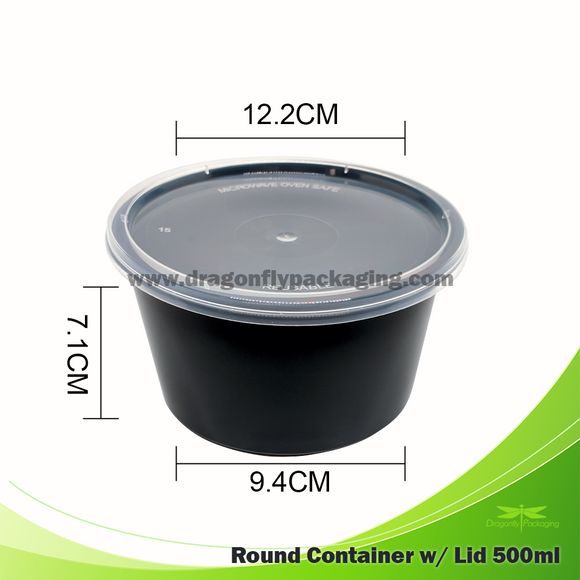 500ml Black Round Microwavable Soup Cup with Lid 500pcs per Carton