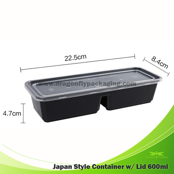 600ml Japan Style 2 division bento box with Lid 200pcs per Carton
