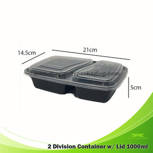 1000ml Premium 2 Division Microwavable with Lid 150pcs per Carton