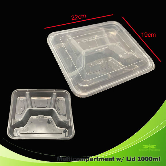 1000ml Clear 4 Division Bento Box with Lid 150pcs per Carton