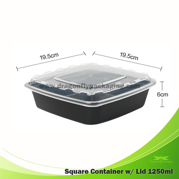1250ml Black Premium Square Microwavable Container with Lid 80pcs per Carton