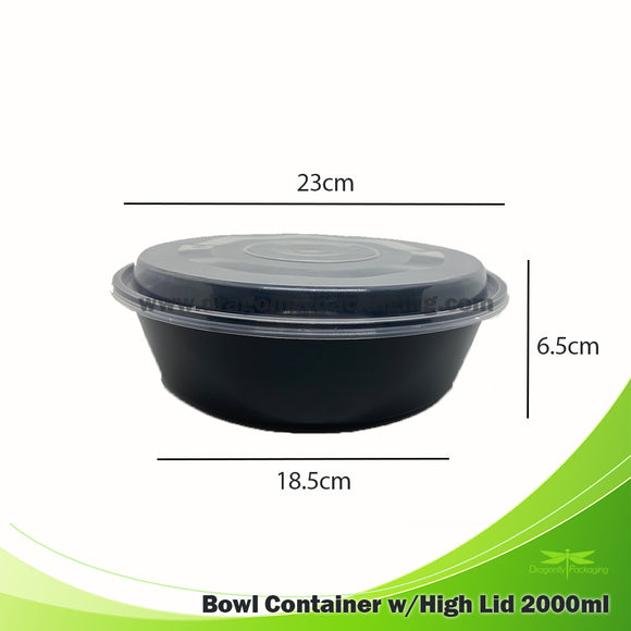 2000ml Black Premium Round Bowl w/ High lid 90pcs per Carton