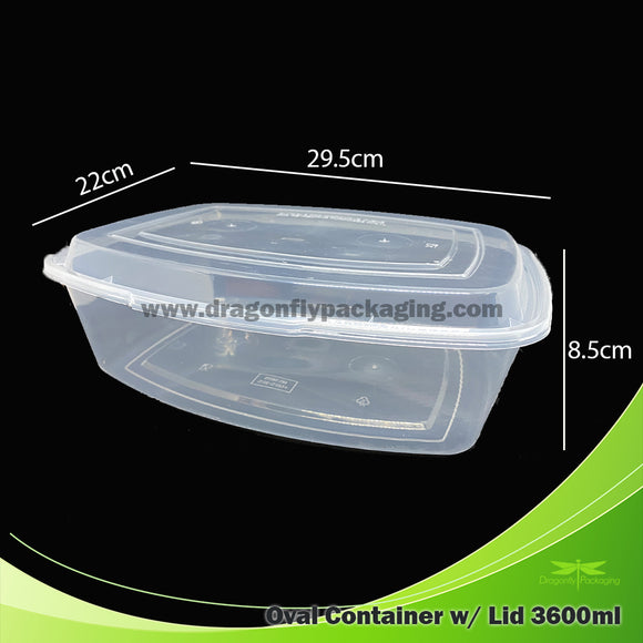 3600ml Clear Oval Microwavable Container with Lid 100pcs per Carton
