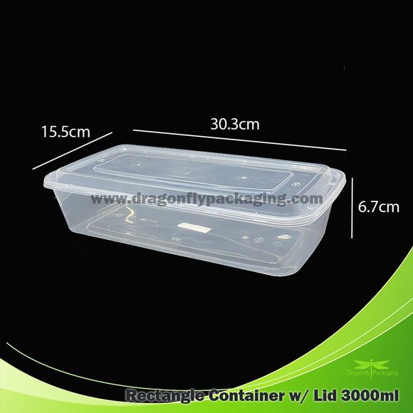 3000ml Premium Container with Lid 150pcs per Carton