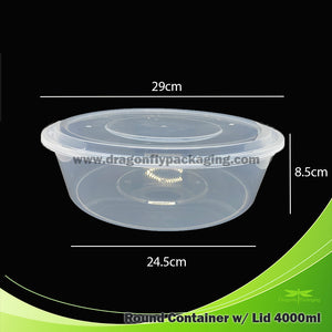 4000ml Round Clear Microwavable Container with Lid 60pcs per Carton