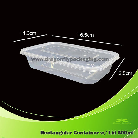 500ml Clear Rectangle Microwavable Container with Lid 300pcs per Carton