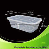 750ml Clear Rectangle Microwavable Container with Lid 300pcs per Carton