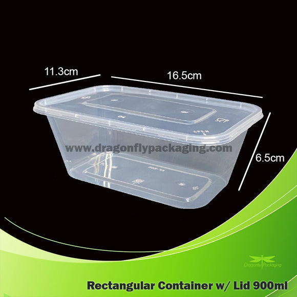 900ml Clear Rectangle Microwavable Container with Lid 300pcs per Carton