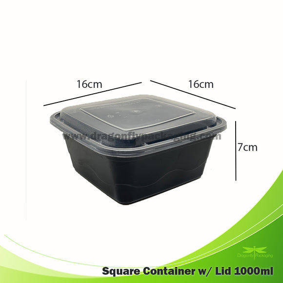 1000ml Black Premium Square Microwavable Container with Lid 300pcs per Carton
