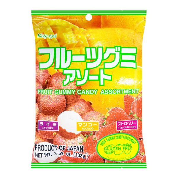 Kasugai Fruit Gummy Lychee Mango Strawberry Asst Flavor 3.59oz