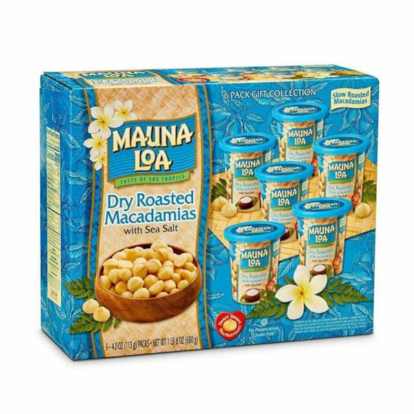 MAUNA LOA DRY ROASTED MACADEMIA NUTS W/ SEA SALT 6 CAN 765 G
