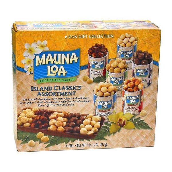 MAUNA LOA ISLAND CLASSICS ASSORTMENT MACADEMIA NUTS 6 CAN 822 G
