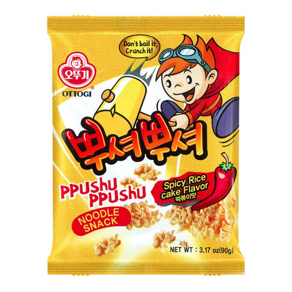 Ottogi Ppushu Ppushu Noodle Snack Spicy Rice Cake Flavor 3.17oz